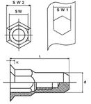 Герметичная Нержавеющая шестигранная из стали А2 гаечная заклепка с буртиком малый потай закрытая