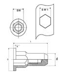Герметичная Нержавеющая шестигранная из стали А2 гаечная заклепка с цилиндрическим буртиком закрытая