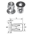 Гаечная заклепка (клепальная гайка) стальная типа Молли с цилиндрическим буртиком