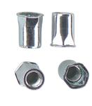Шестигранная гаечная заклепка (клепальная гайка) стальная с буртиком малый потай открытая