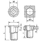 Нержавеющая шестигранная из стали А4 гаечная заклепка с цилиндрическим буртиком открытая